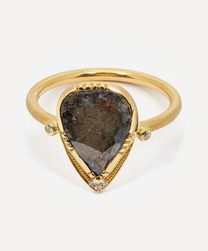 Gold Diamond Teardrop Halo Ring