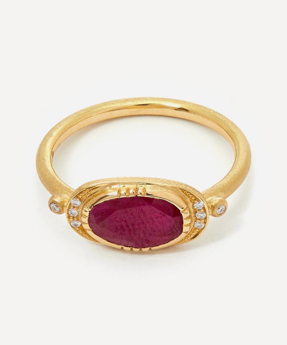 Brooke Gregson - Gold Ellipse Halo Ruby Ring
