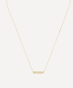 Gold-Plated Baguette White Topaz Bar Pendant Necklace