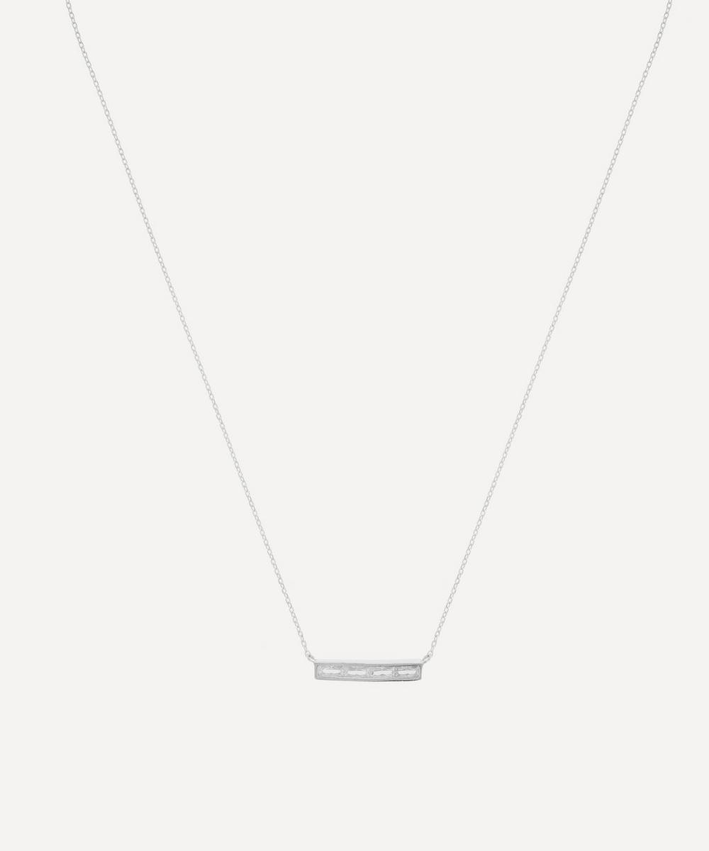 THE UNIFORM - Silver Baguette White Topaz Bar Pendant Necklace