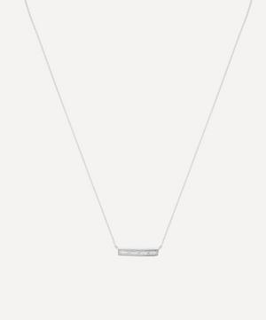 Silver Baguette White Topaz Bar Pendant Necklace