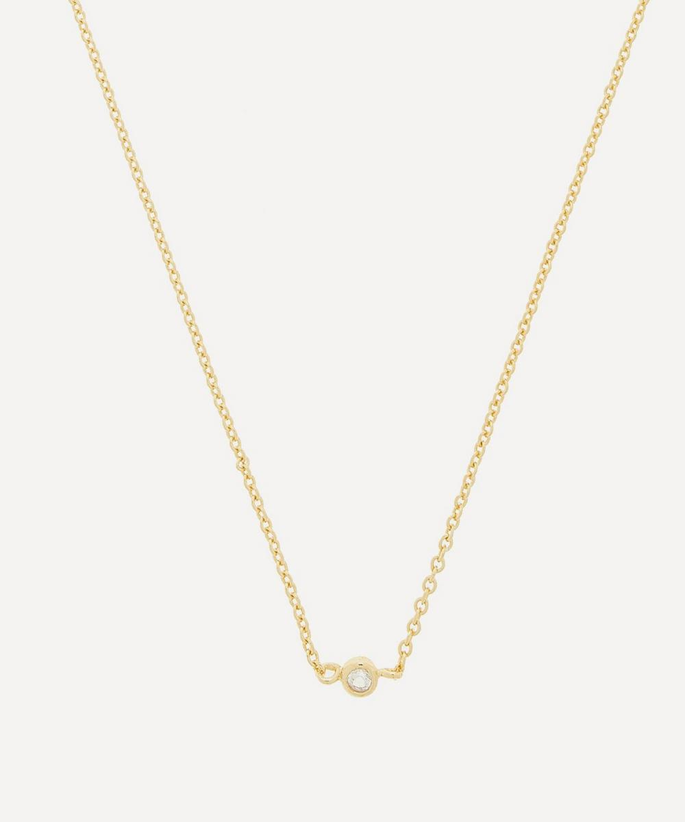 THE UNIFORM - Gold-Plated Solitaire White Sapphire Pendant Necklace