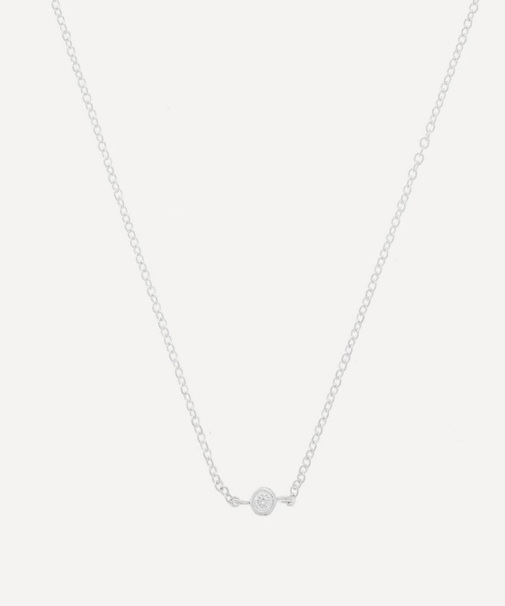 THE UNIFORM - Silver Solitaire White Sapphire Pendant Necklace