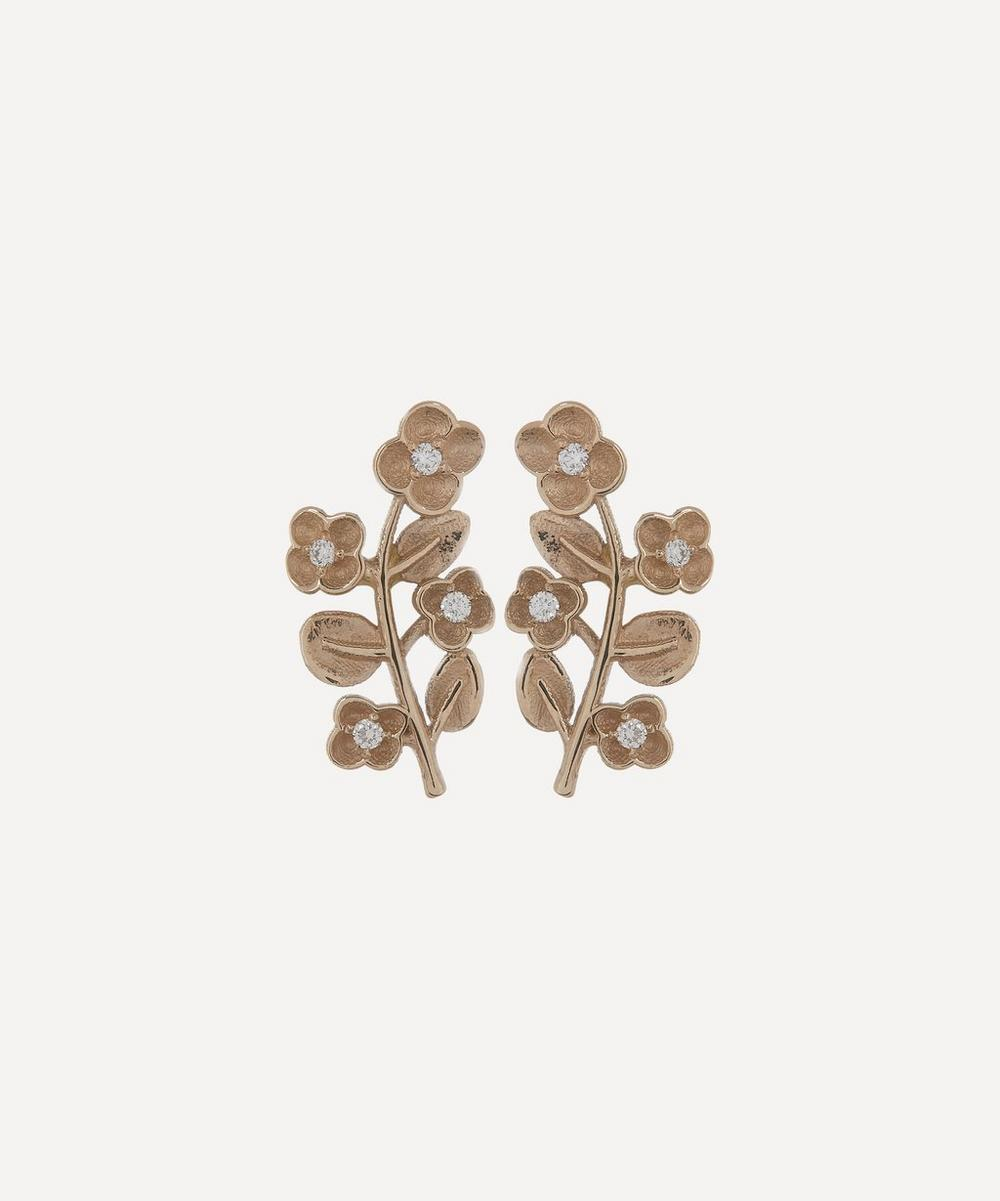 Liberty - White Gold Diamond Blossom Stud Earrings