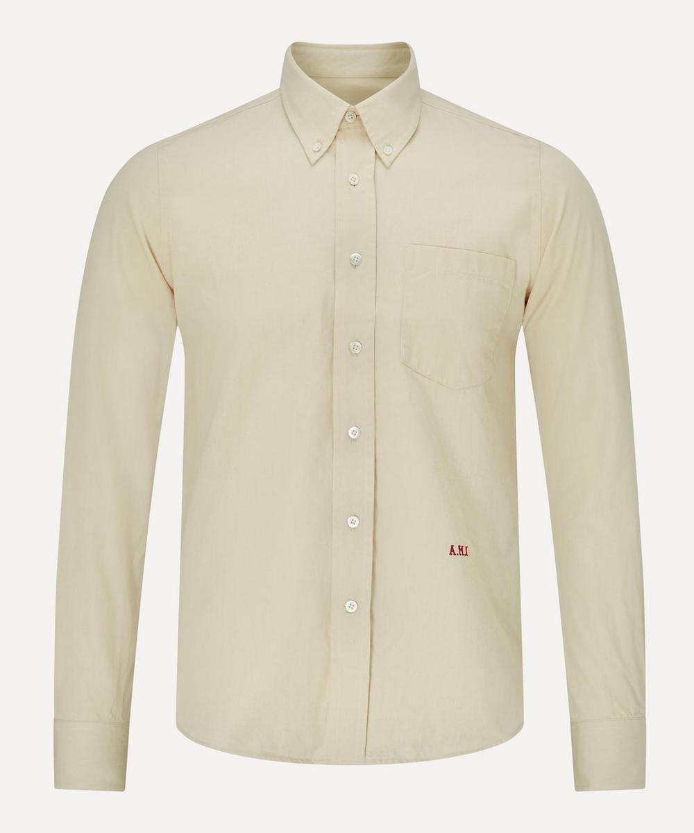 Ami - Embroidered Cotton Poplin Logo Shirt