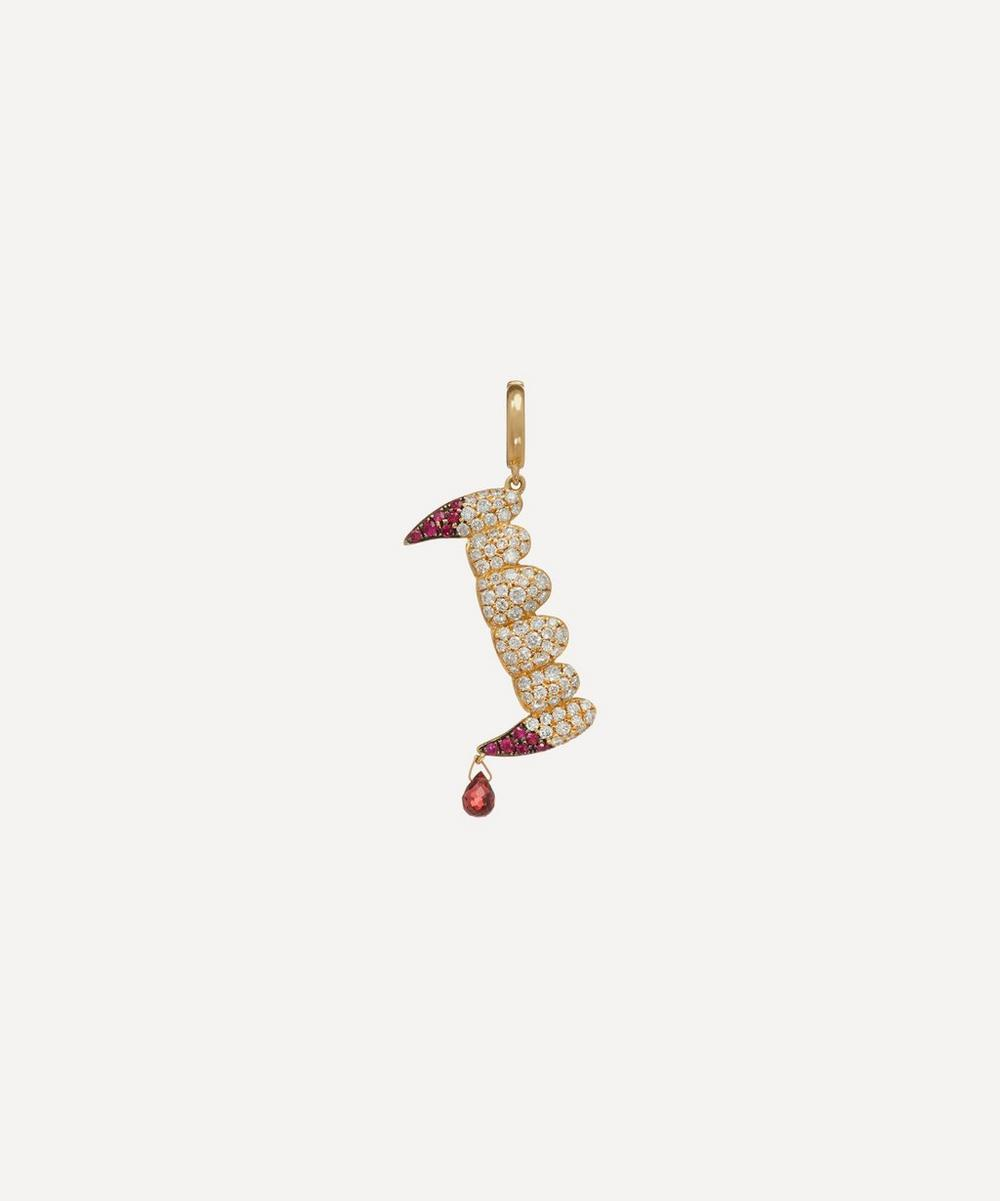 Annoushka - x The Vampire's Wife 18ct Gold 'Release The Bats' Diamond and Ruby Charm