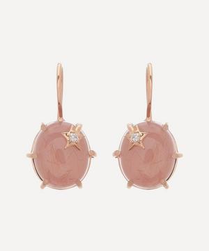 Rose Gold Mini Galaxy Guava Quartz and Diamond Star Drop Earrings