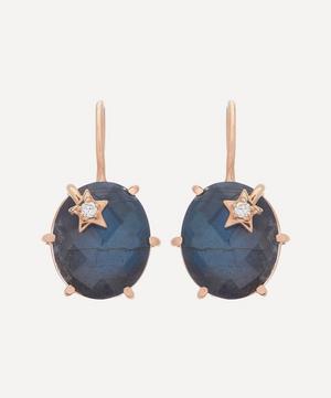 Rose Gold Mini Galaxy Labradorite and Diamond Star Drop Earrings