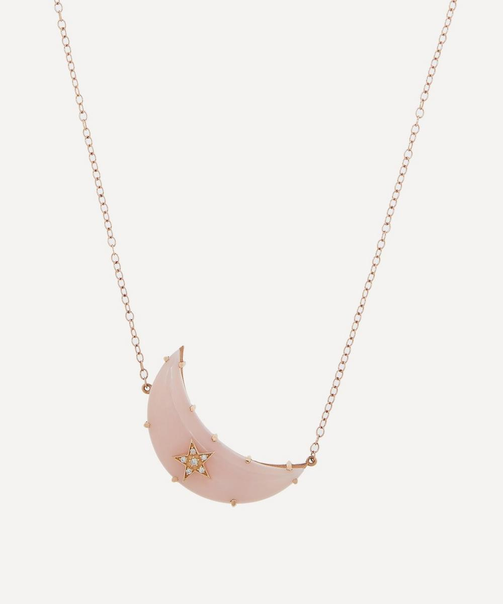 Andrea Fohrman - Rose Gold Pink Opal and Diamond Moon Pendant Necklace