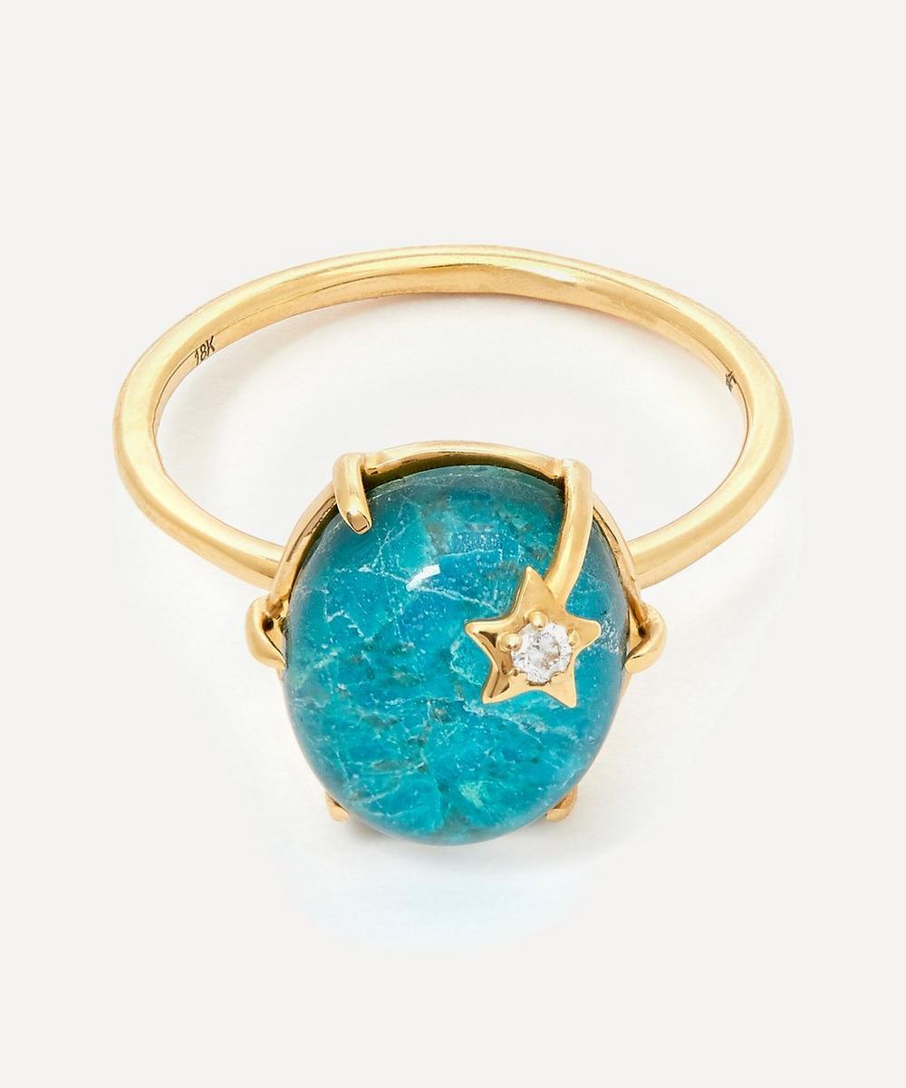 Andrea Fohrman - Gold Mini Galaxy Chrysocolla and Diamond Star Ring