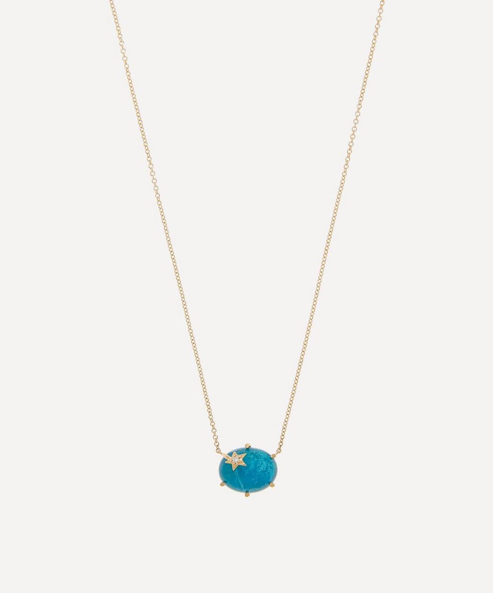 Andrea Fohrman - Gold Mini Galaxy Chrysocolla and Diamond Star Pendant Necklace
