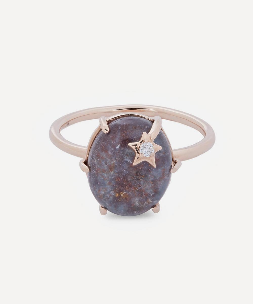 Andrea Fohrman - Rose Gold Mini Galaxy Ruby Kyanite and Diamond Star Ring