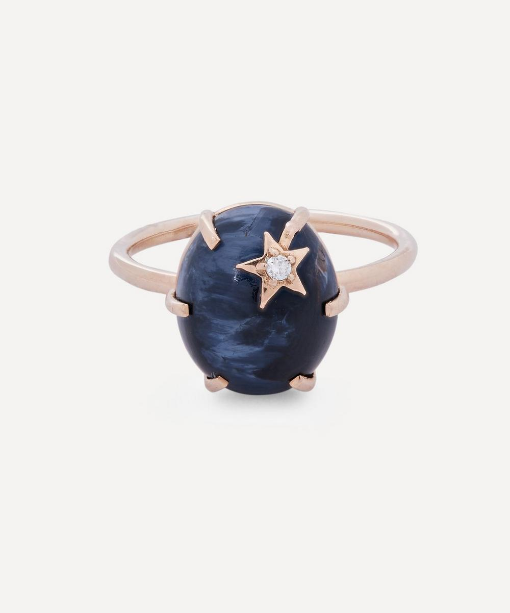 Andrea Fohrman - Rose Gold Mini Galaxy Blue Pietersite and Diamond Star Ring
