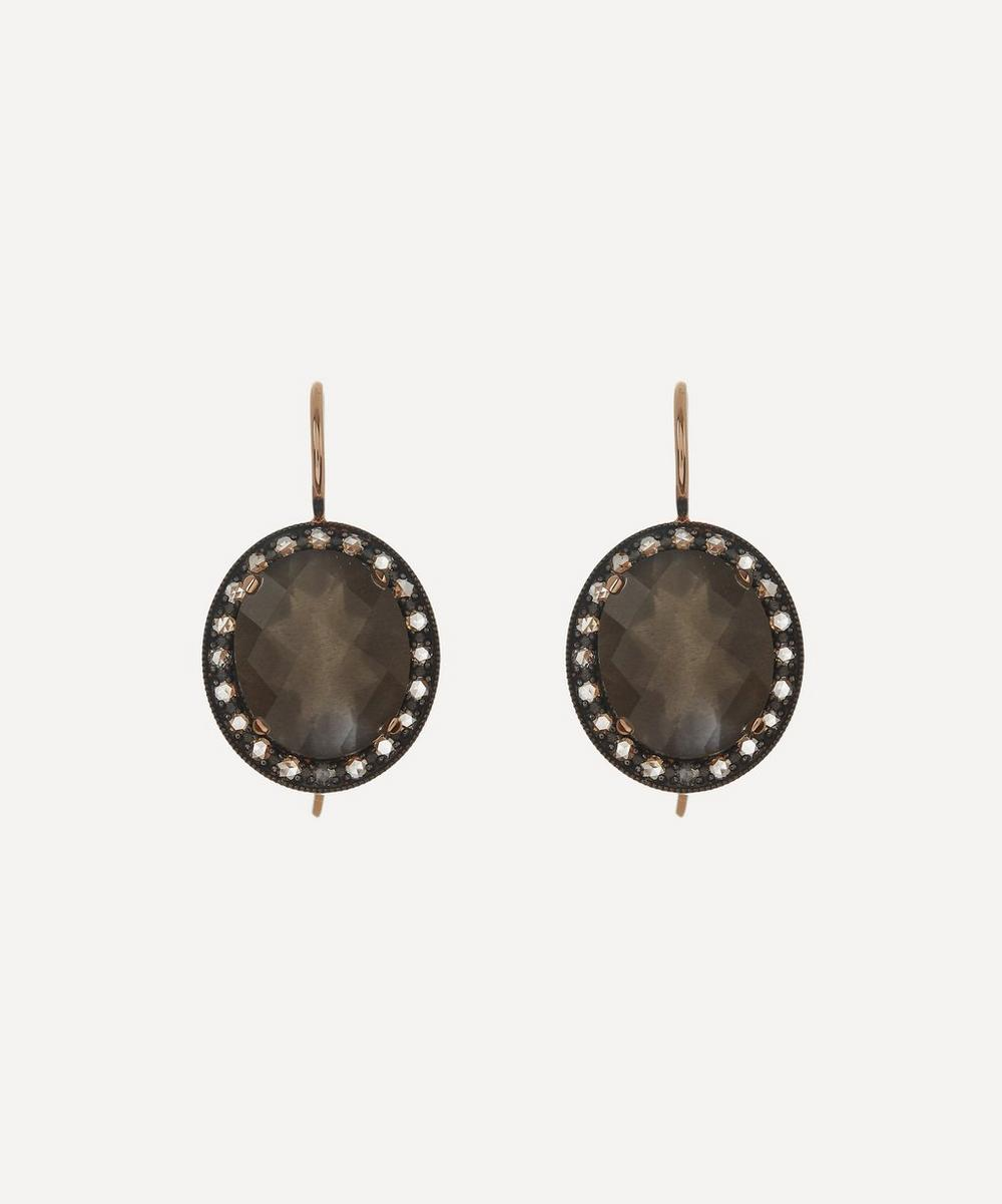 Andrea Fohrman - Rose Gold Kat Grey Moonstone and Diamond Drop Earrings