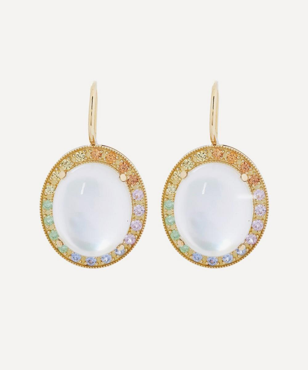 Andrea Fohrman - Gold Mother of Pearl and Rainbow Sapphire Drop Earrings