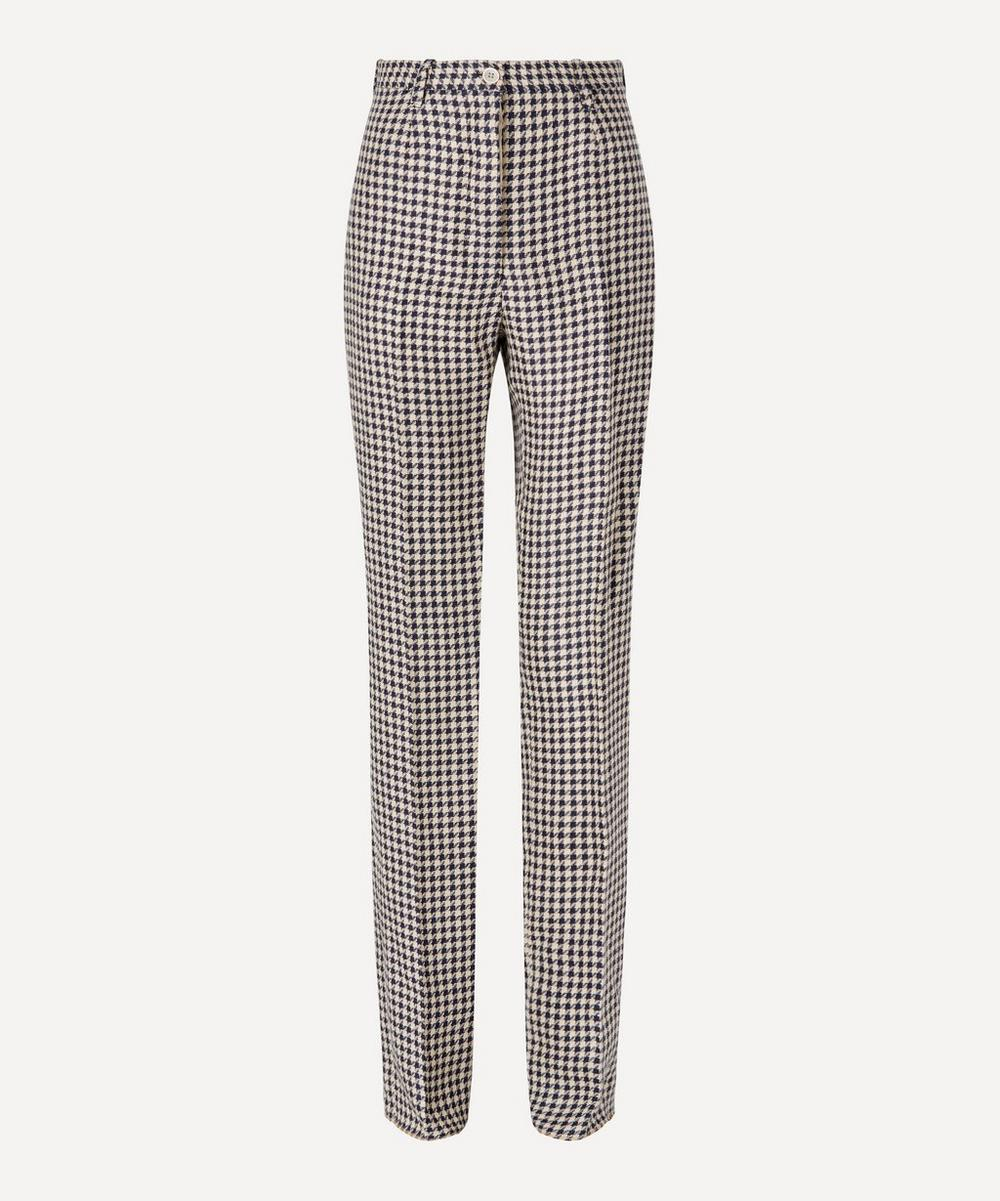 Giuliva Heritage Collection - Houndstooth Linen Straight-Leg Trousers