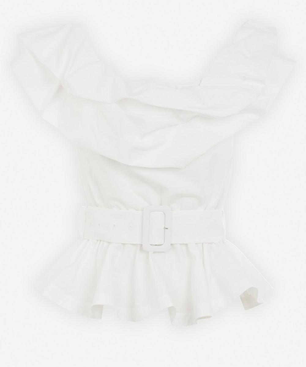 Stella Jean - Off-The-Shoulder Belted Ruffle Top
