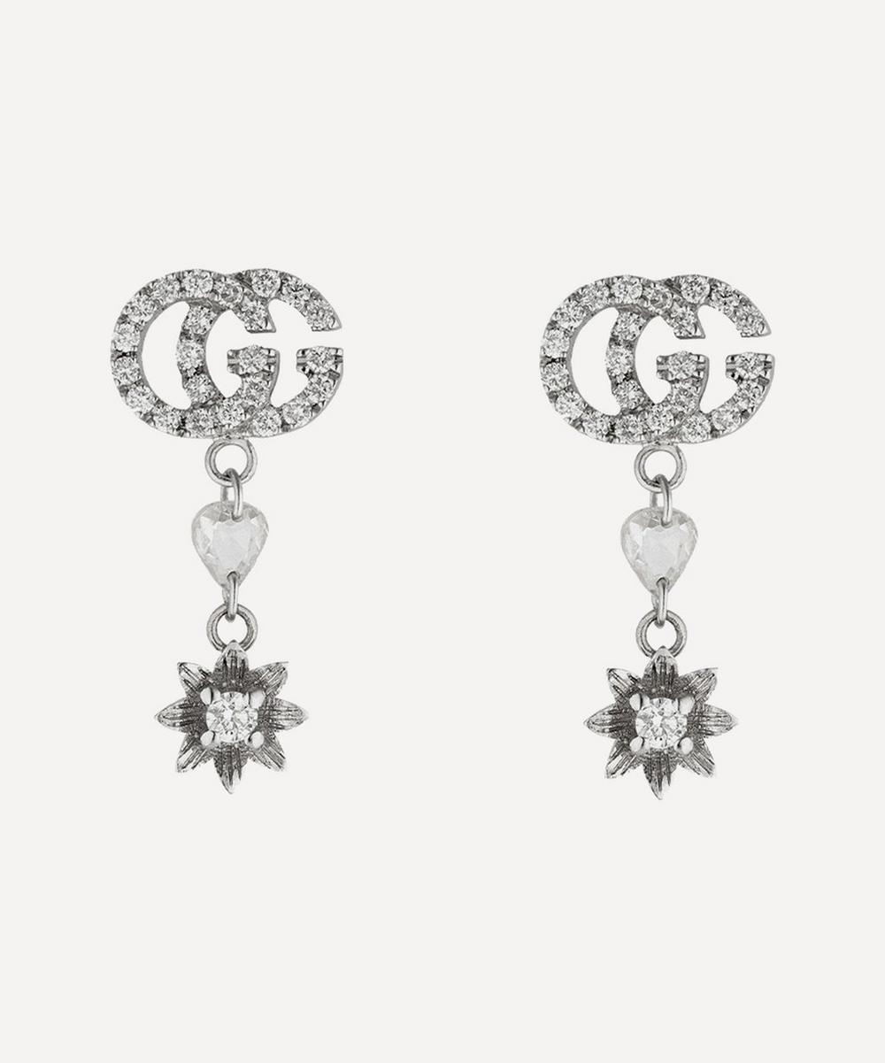 Gucci - White Gold GG and Flower Diamond Drop Earrings