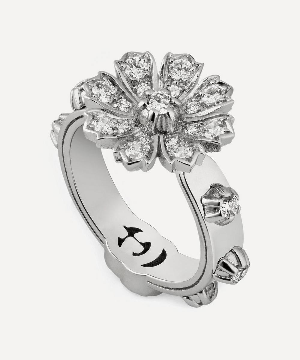 Gucci - White Gold Diamond Flower Ring