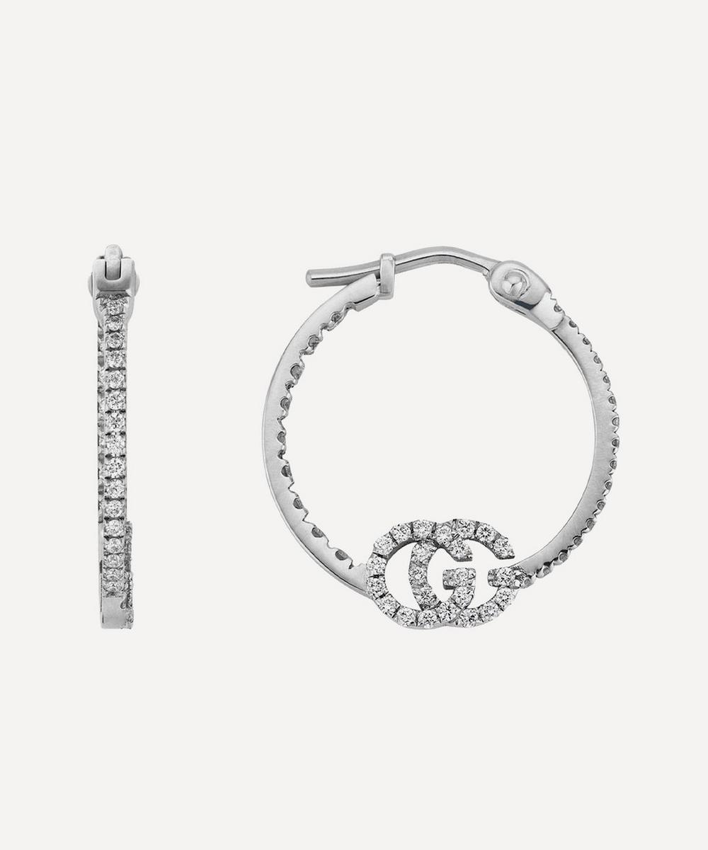 Gucci - White Gold GG Running Diamond Hoop Earrings