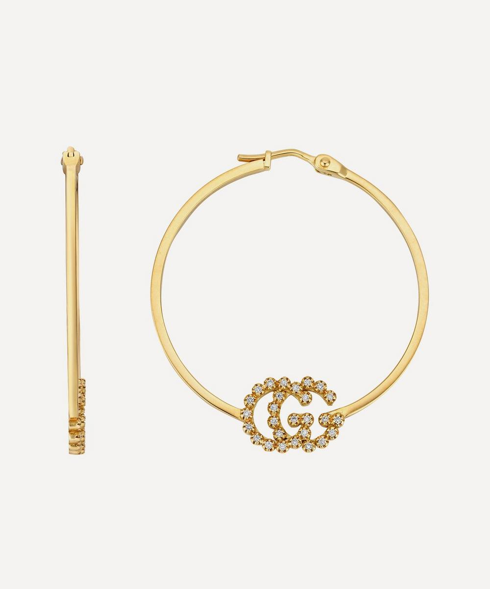 Gucci - Gold GG Running Diamond Hoop Earrings