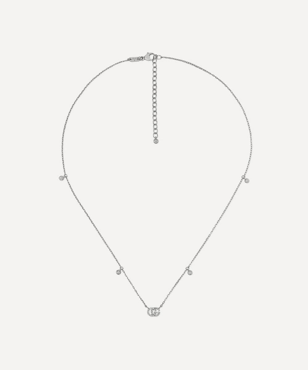 Gucci - White Gold GG Running Diamond Necklace