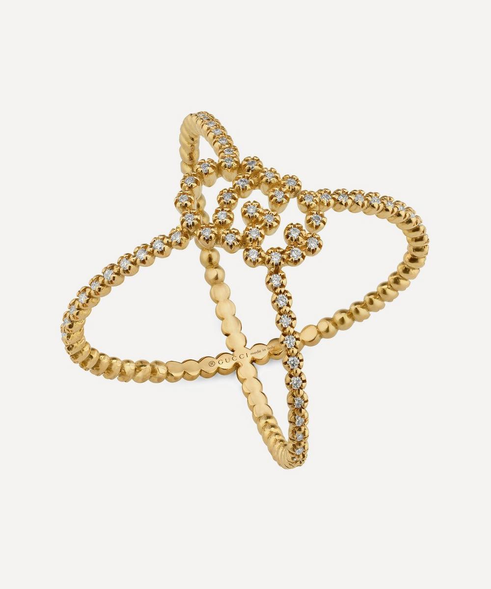Gucci - Gold GG Running Diamond X Ring