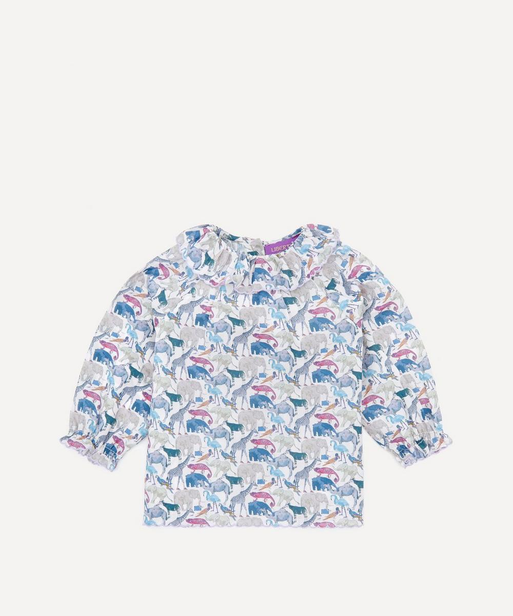 Liberty London - Queue for the Zoo Ruffle Blouse 3 Months-3 Years