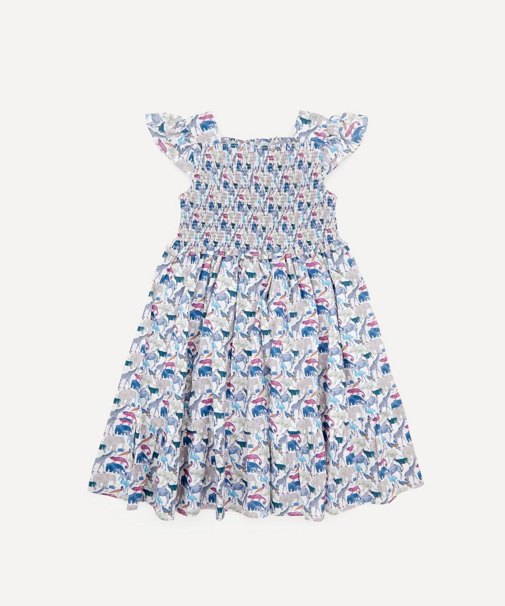 Liberty London - Queue for the Zoo Ruched Ruffle Dress 2-10 Years