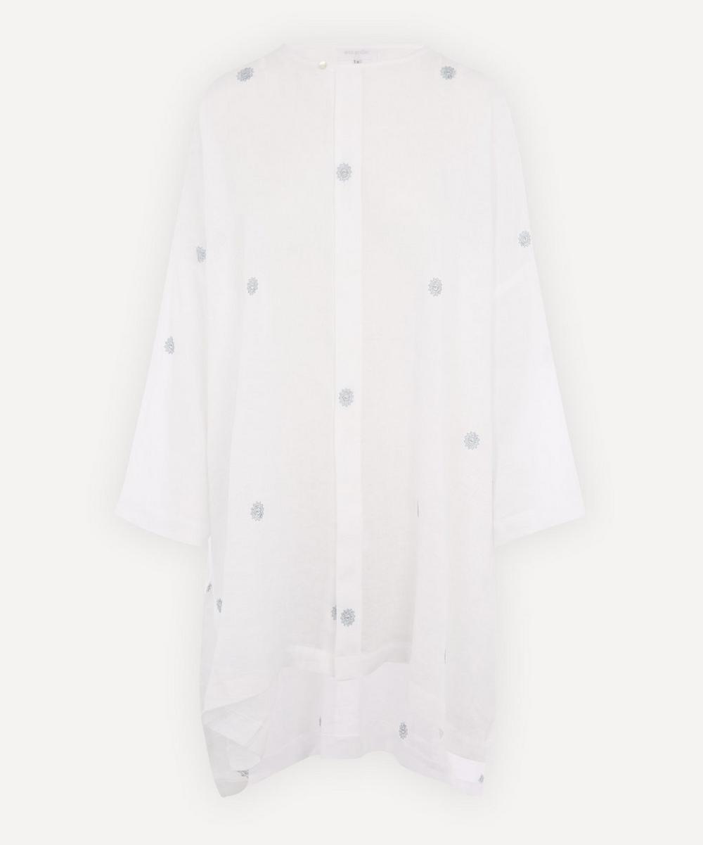 Eskandar - Wide A-Line Band-Neck Embroidered Linen Shirt