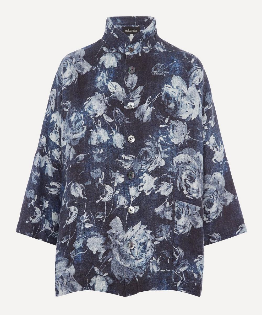 Eskandar - Sloped-Shoulder Floral Print Linen Jacket
