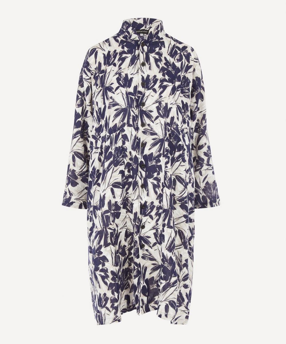 Eskandar - Mandarin Collar Printed Linen Jacket