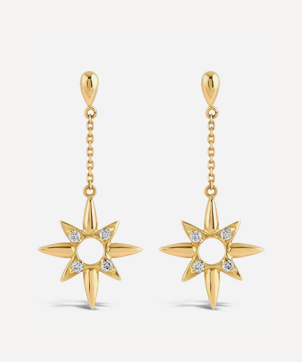 Dinny Hall - 18ct Gold Sunbeam Lady Clare Diamond Drop Earrings