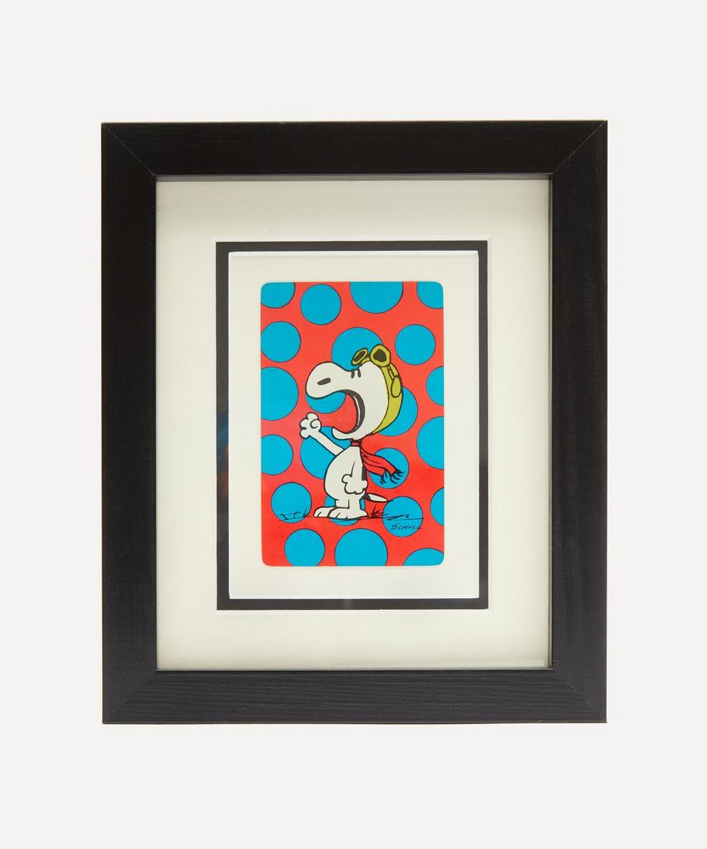 Vintage Playing Cards - Excited Foot Snoopy Vintage Framed Playing Card
