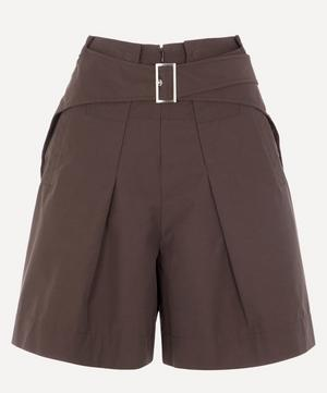 Belted Cotton-Blend Utility Shorts