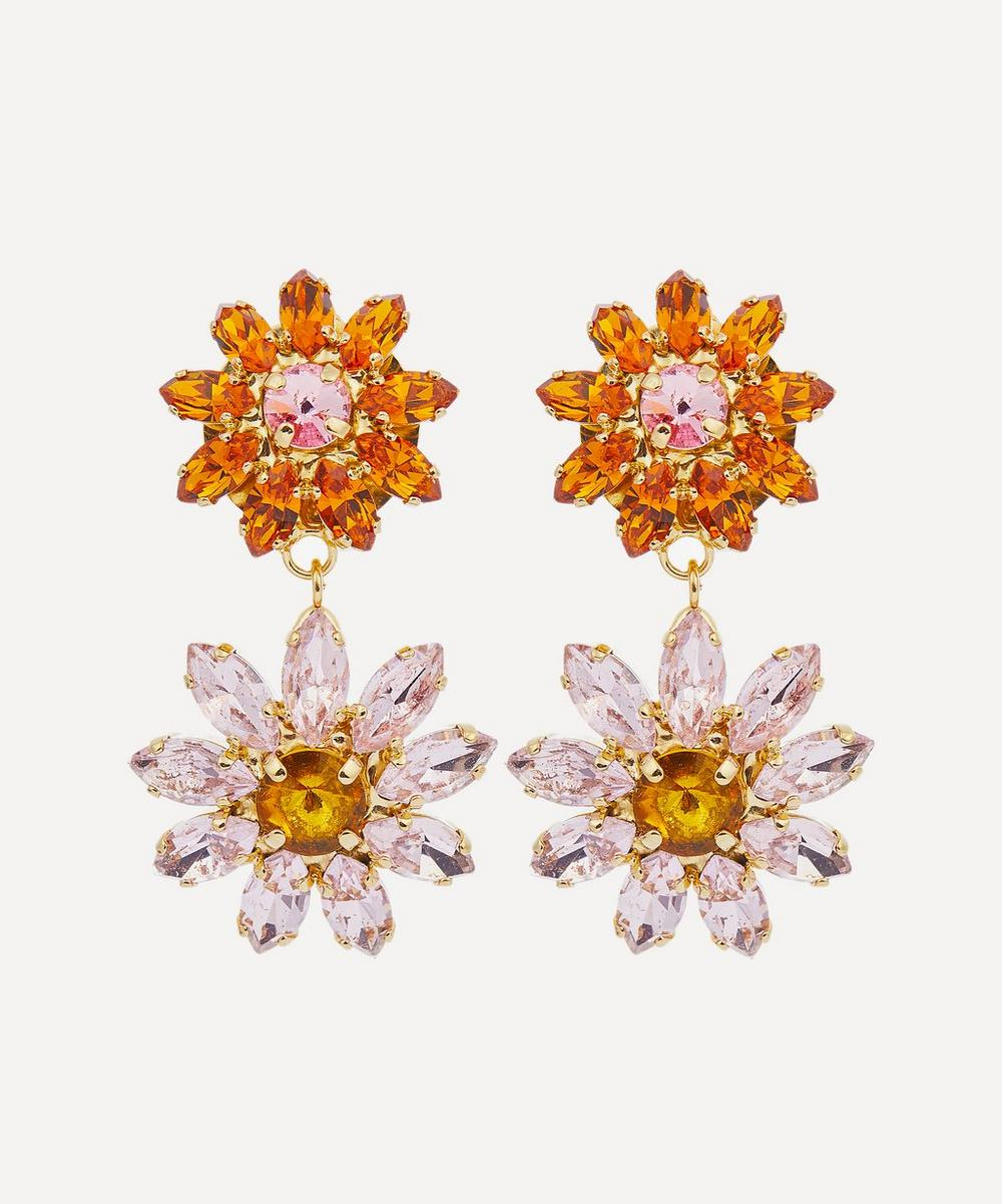 Rosantica - Utopia Crystal Flower Clip-On Drop Earrings