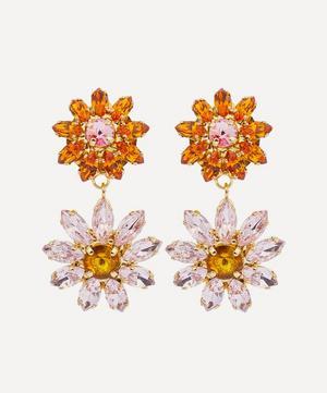 Utopia Crystal Flower Clip-On Drop Earrings