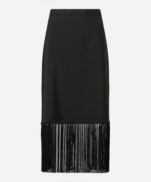 Fringed Mohair Wool A-Line Skirt