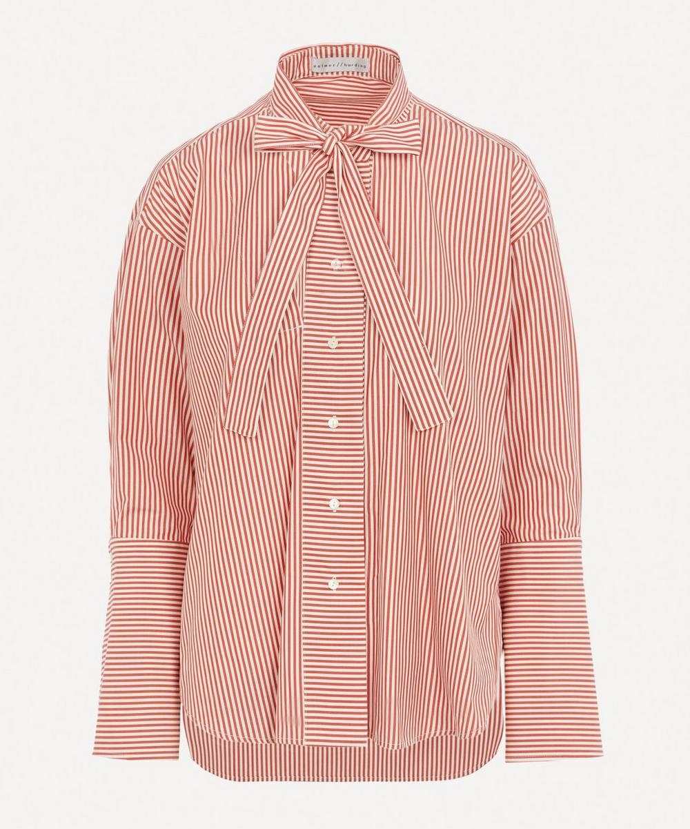 palmer//harding - Astana Cut-Out Striped Cotton-Poplin Shirt