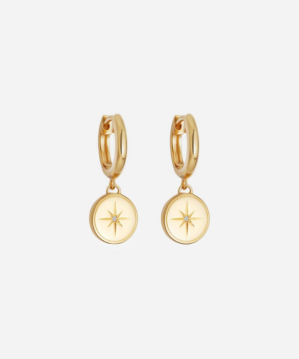 Astley Clarke - Gold Plated Vermeil Silver Celestial Compass White Sapphire Drop Earrings