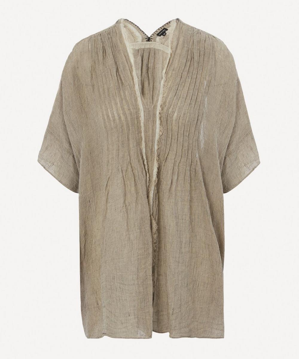 pas de calais - V-Neck Striped Linen Blouse