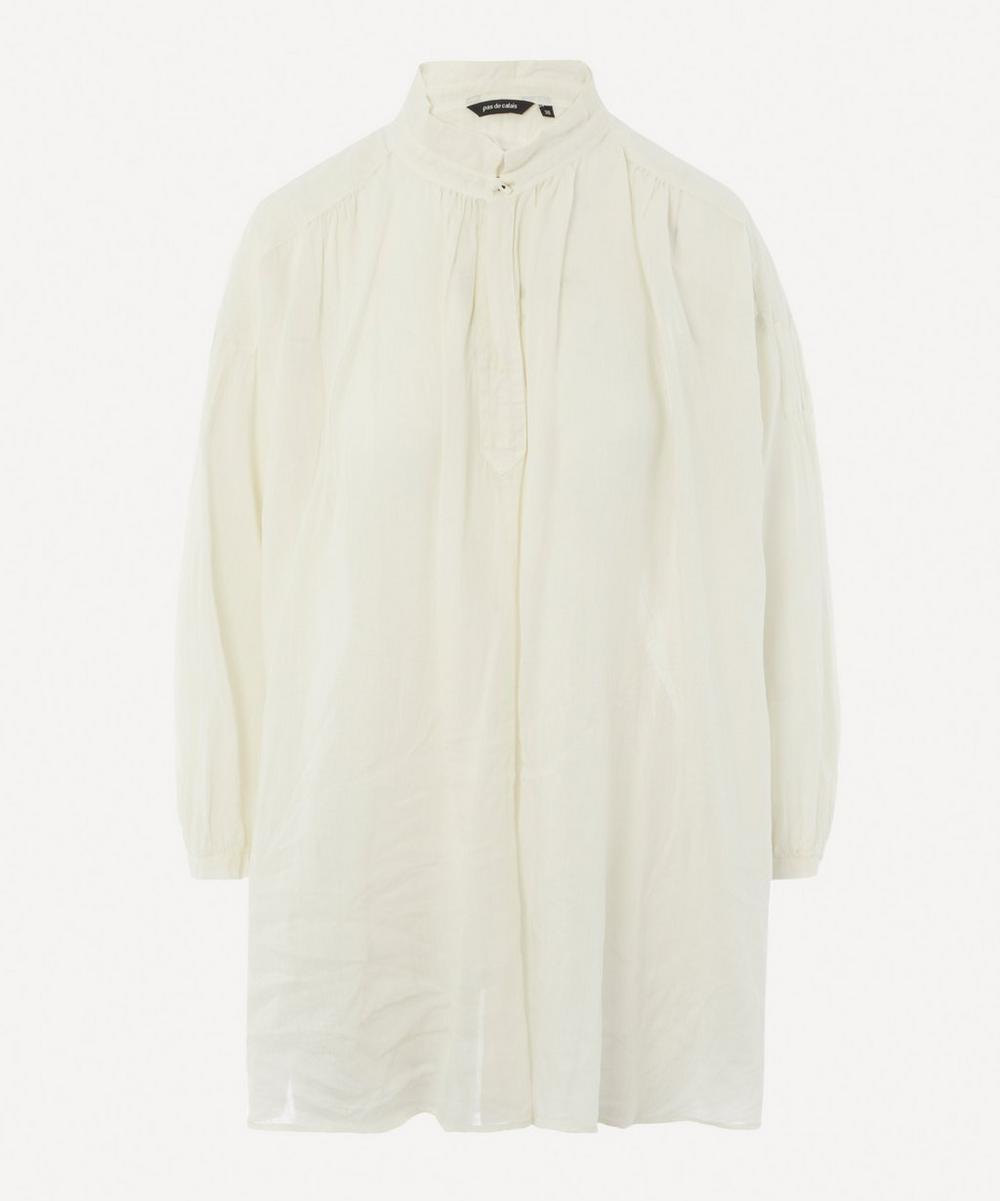 pas de calais - Linen-Blend Grandad Collar Blouse