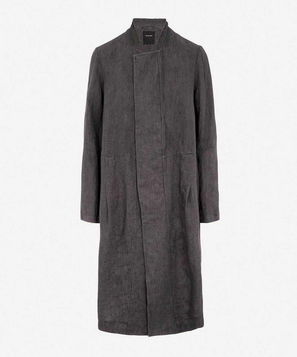 pas de calais - Grandad Collar Linen Coat
