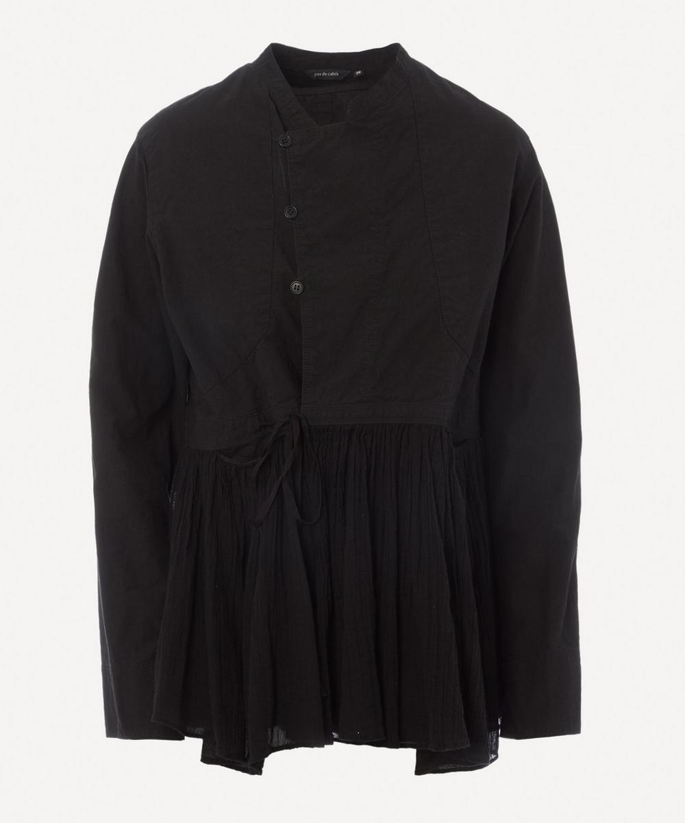 pas de calais - Double-Breasted Cotton-Hemp Peplum Jacket