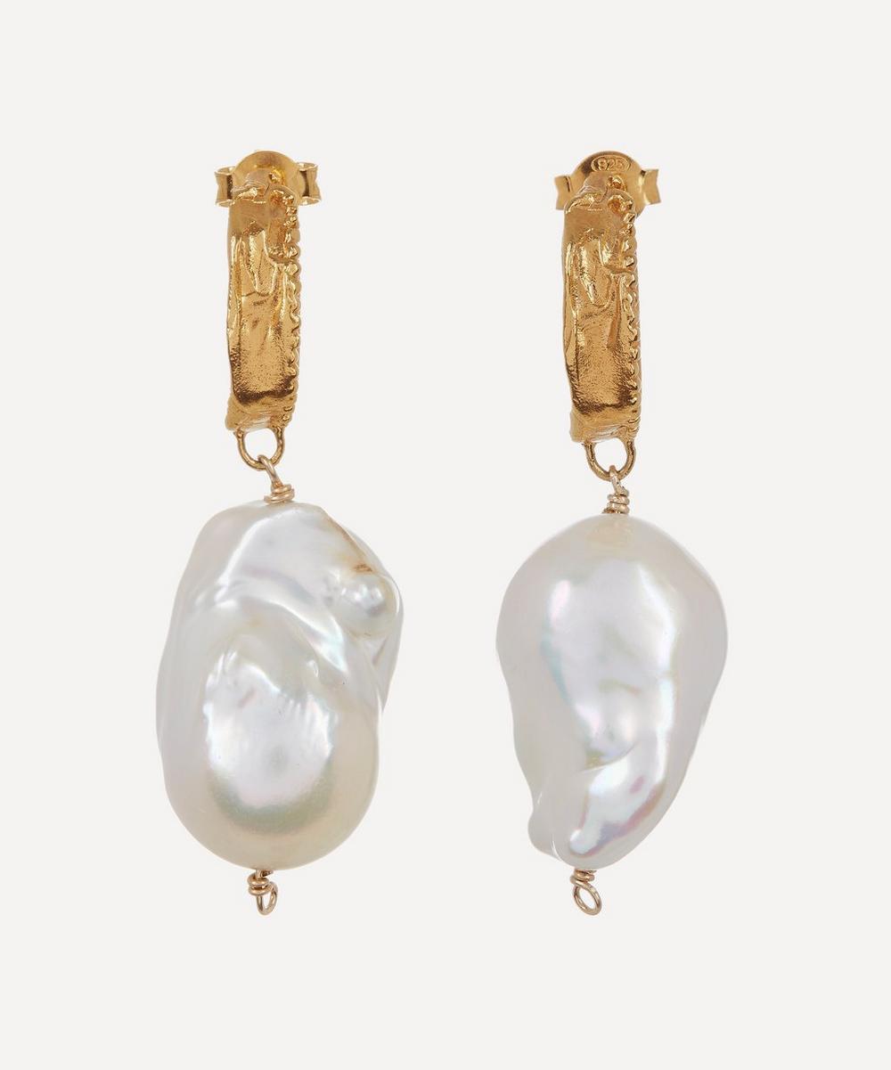 Alighieri - Gold-Plated The Water Bearer Baroque Pearl Hoop Earrings