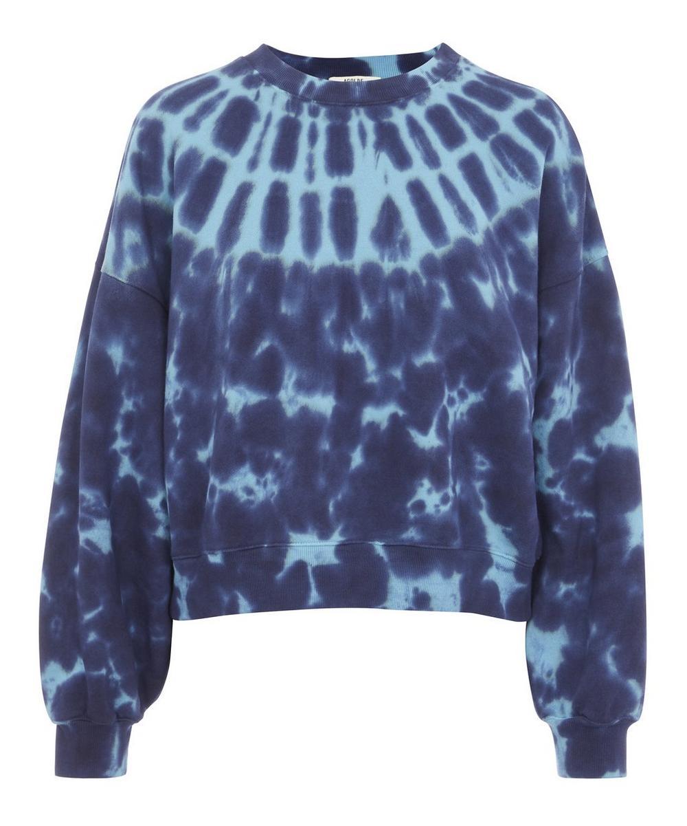 AGOLDE - Balloon-Sleeve Cotton Tie-Dye Sweater