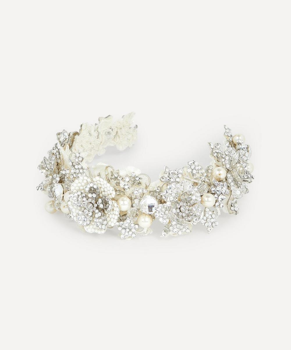 Halo & Co - Arabesque Crystal and Pearl Rose Headband