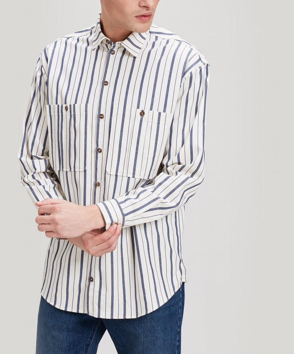 King & Tuckfield - Jacquard-Stripe Cotton Canvas Shirt
