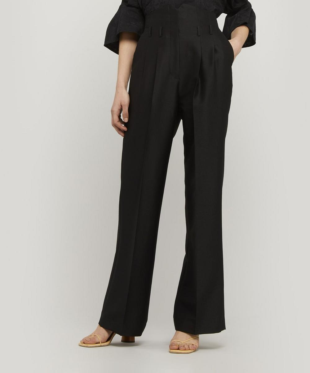 Mame Kurogouchi - Wool and Silk-Blend High-Rise Trousers
