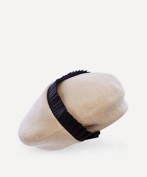 Groove Fold Ribbon-Trimmed Straw Beret